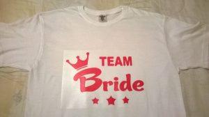 tricouri personalizate albe bumbac team bride