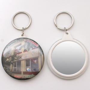 Insigne breloc cu oglinda personalizate 58mm
