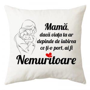"""Perna personalizata patrata alba """"Mama Nemuritoare"""""""