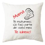 Perna personalizata patrata alba Mama Te iubesc